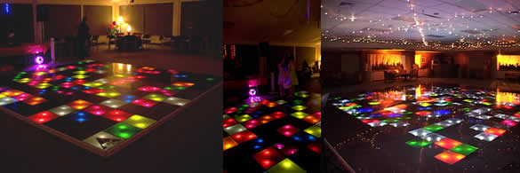 Collection of illuminated dance floors at events around Auckland