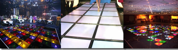 Illuminated dance floors in different layouts as catwalks and  disco floors